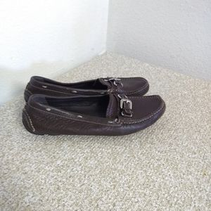 Prada Brown Pebbled Leather Loafers